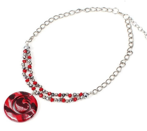 Papaya Crystal Swirl Crimson Necklace - Navya