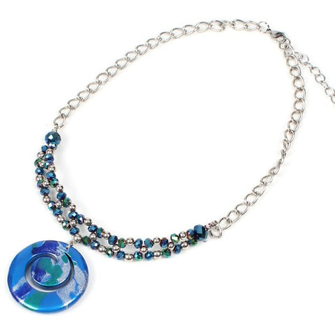 Papaya Crystal Swirl Scuba Blue Necklace - Navya