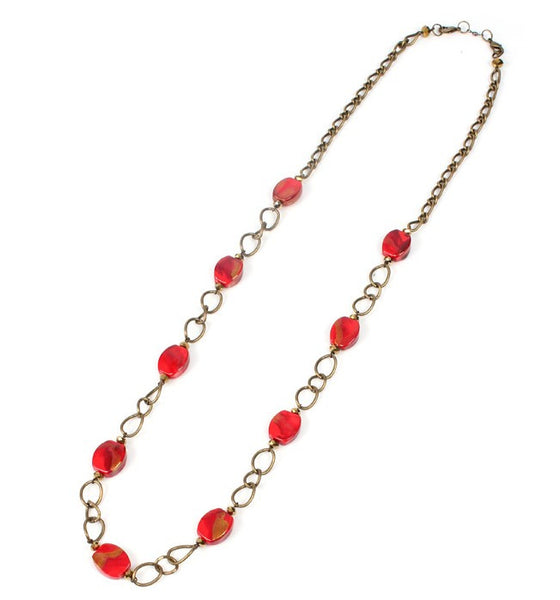 Elegant Papaya Long Necklace - Navya