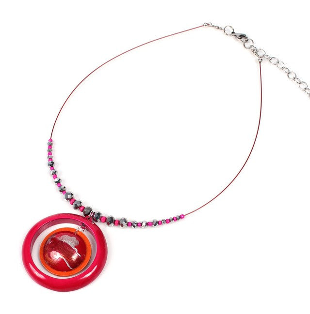 Papaya Saturn Strawberry Ice Necklace - Navya