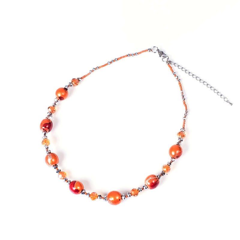 Papaya Crystal Elegance Necklace - Navya