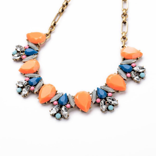 Statement Necklace Anastasia Orange and Blue Side View