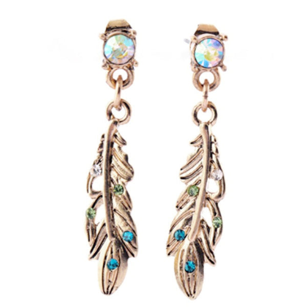 Gold Feather Earrings - Navya