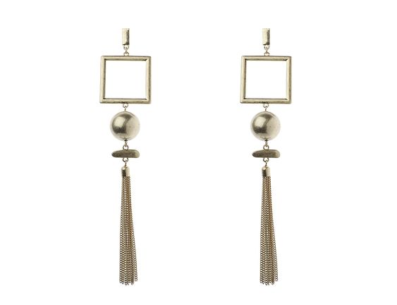 Square and  Ball Tassel Earrings - Navya