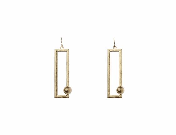 Tiny Ball in Rectangle Earrings - Navya