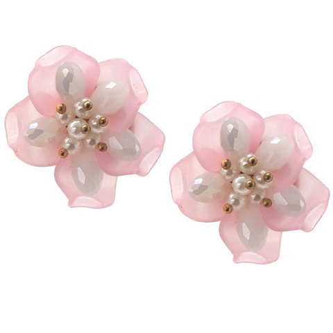 Erica Pink Floral Earrings - Navya