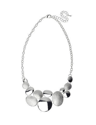 Silver Gathered Circles Necklace - Navya