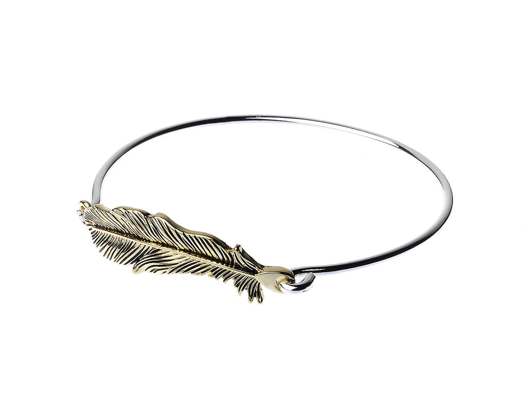 Silver Bangle with Gold Leaf Charm - Navya