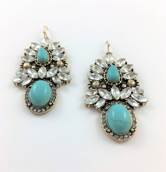 Turquoise Cluster Mixed Stone Statement Earrings - Navya