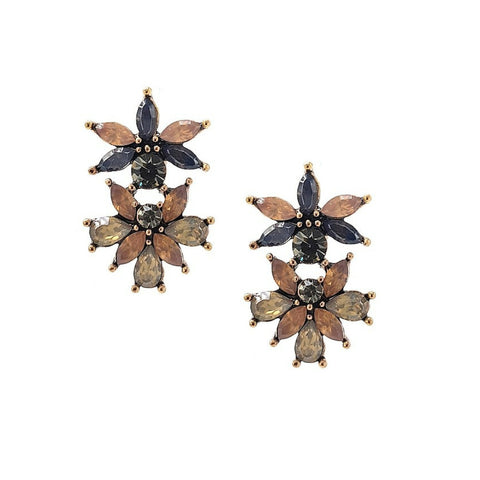 Champagne-Gray Floret Statement Earrings - Navya