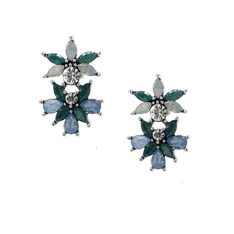 Blue Floret Crystal Statement Earrings - Navya