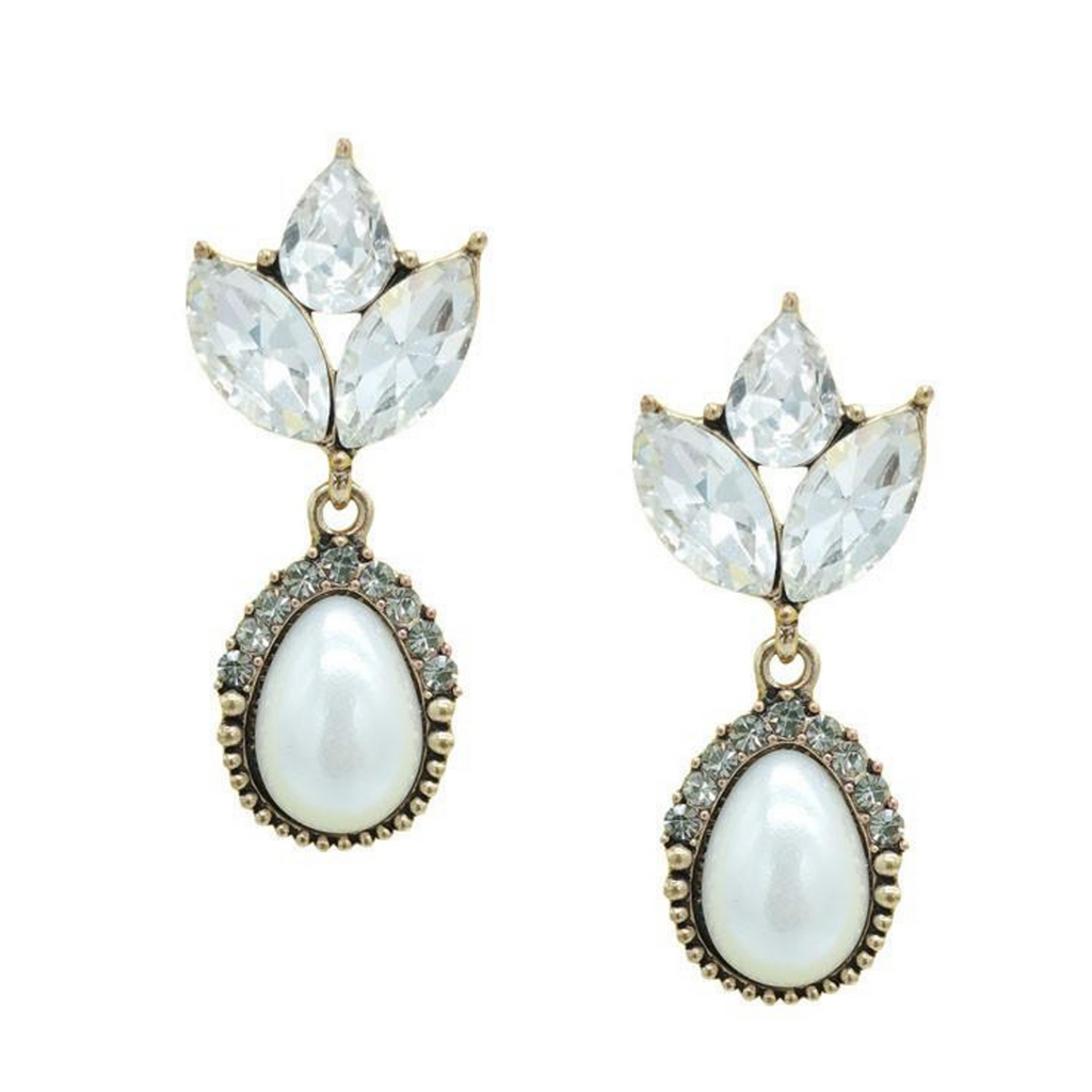 PRE-ORDER Vintage Inspired Pearl Statement Earrings - Navya