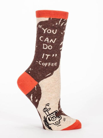 Women's Crew socks - You Can Do It Coffee - Blue Q - Navya