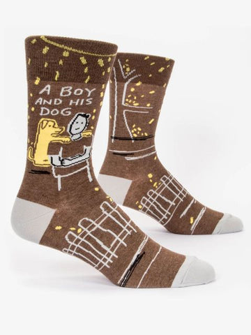 Men's Crew Socks - A Boy and His Dog - Blue Q