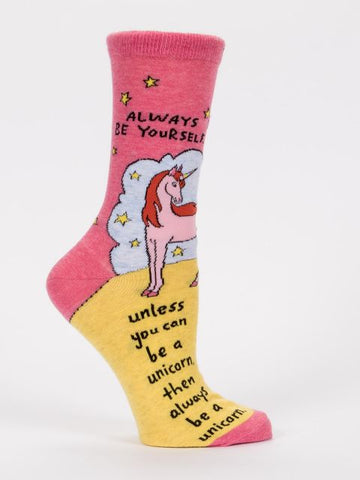 Women's Crew Socks - Always Be Yourself, Unicorn - Blue Q - Navya
