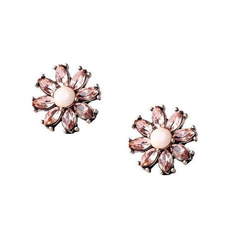 Aster Pink Crystal Stud Earrings - Navya