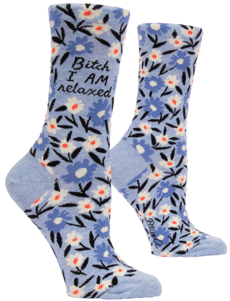 Women's Crew Socks - B**** I am Relaxed - Blue Q
