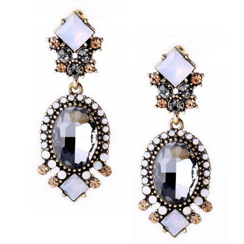 Black and White Crystal Statement Earrings - Navya