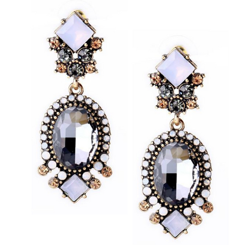 Black and White Crystal Statement Earrings