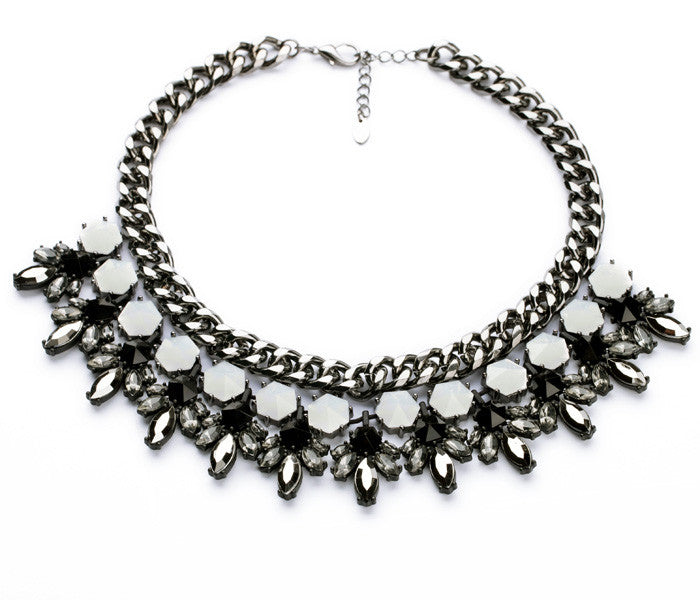 Black and White Glamour Statement Necklace - Navya