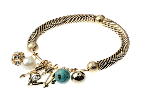 Twisted Gold Bracelet with Charms - Navya
