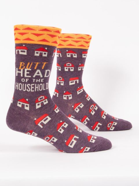 Men's Crew Socks - Butthead of the Household - Blue Q