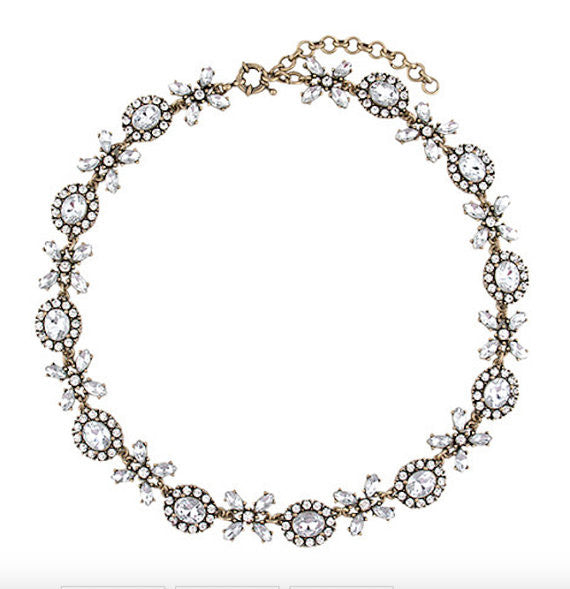 Crystal Lace Collar Statement Necklace - Navya