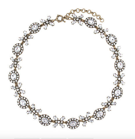Crystal Lace Collar Statement Necklace full view