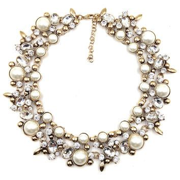 Pearl Verena Bib Statement Necklace - Navya