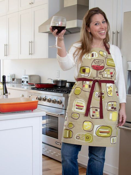 Cooking Makes Me Thirsty Apron - Blue Q