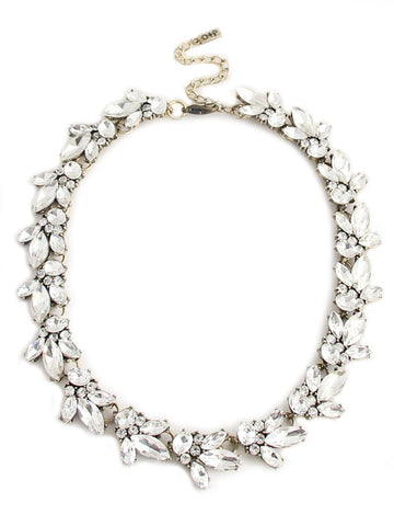 Crystal Bib Choker Statement Necklace - Navya