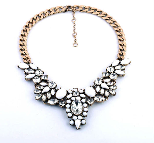 Bella Crystal Stone Statement Necklace Navya