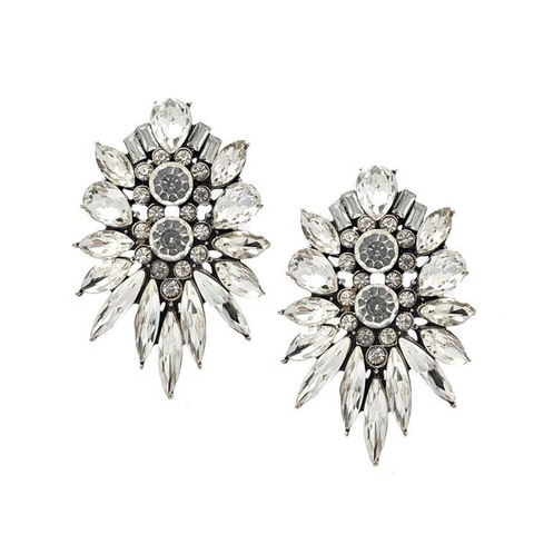 Crystal Flower Statement Earrings - Navya