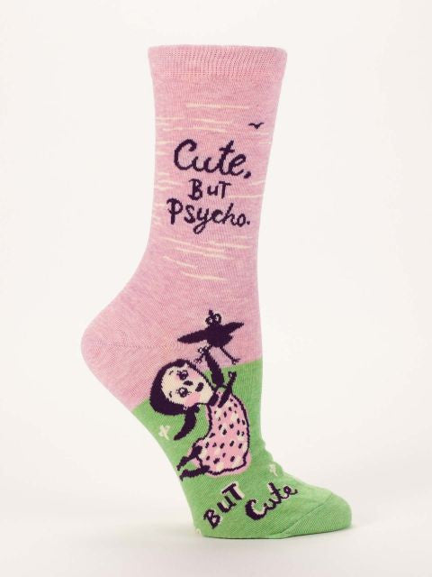 Women's Crew Socks - Cute But Psycho - Blue Q - Navya