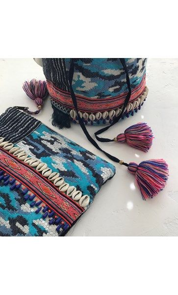 Pattern Braid Shell Tassel Clutch - Navya