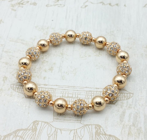 Disco Ball Glitter Gold Bridal Bracelet - Navya