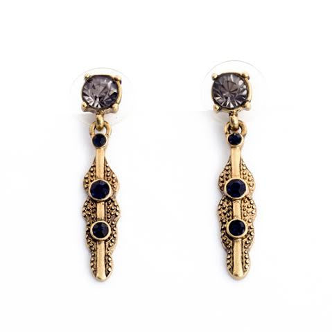 Grey and Black Stone Drop Earrings - Navya