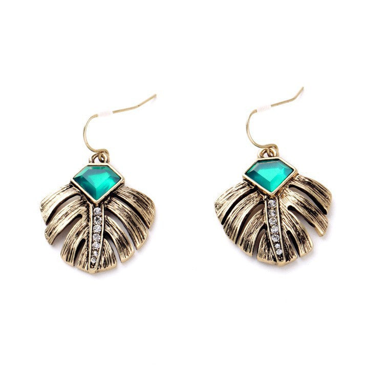 Gold Palm Leaf Earrings - Navya