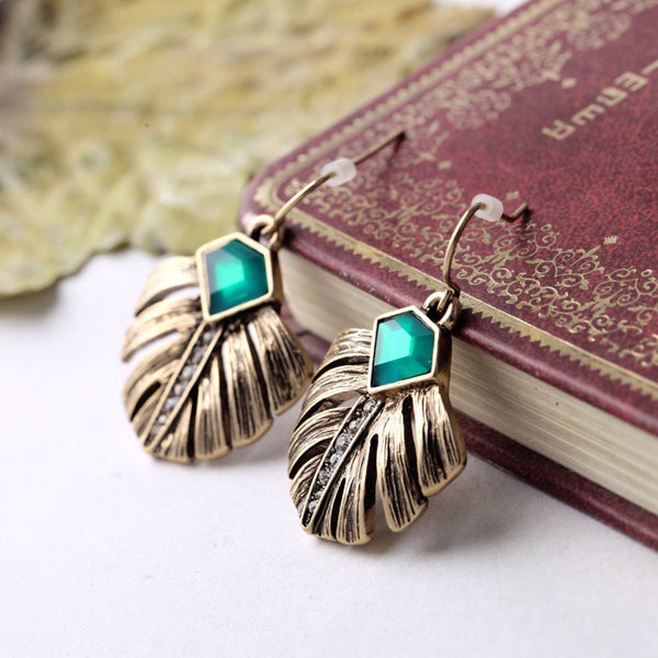 Gold Palm Leaf Earring - Navya