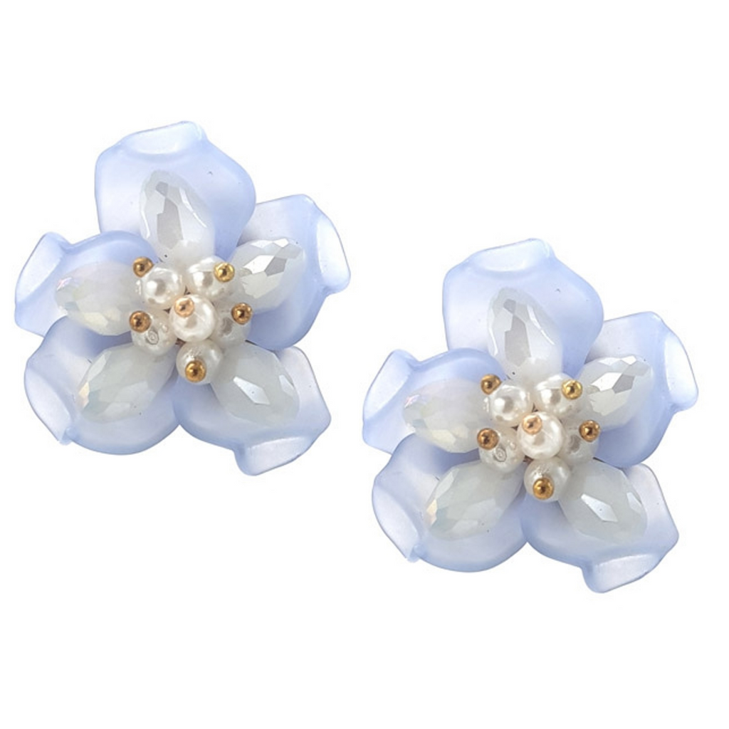 Erica Blue Floral Earrings - Navya