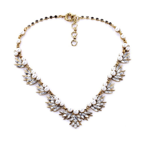 Fairy Fan-Shaped Pearl and Crystal Vintage Statement Necklace