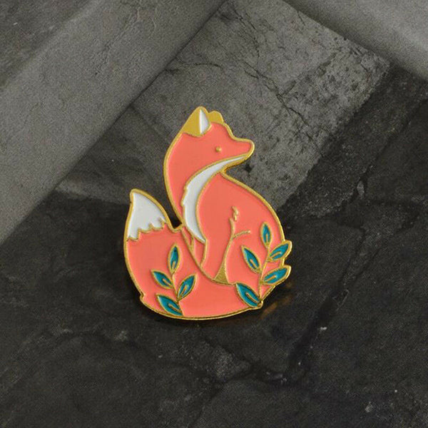 Cute Golden Fox Brooch - Navya