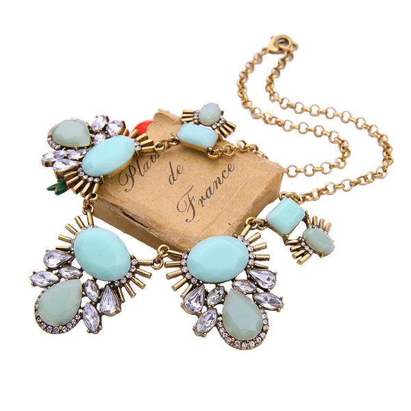 Gold Mint Statement Necklace