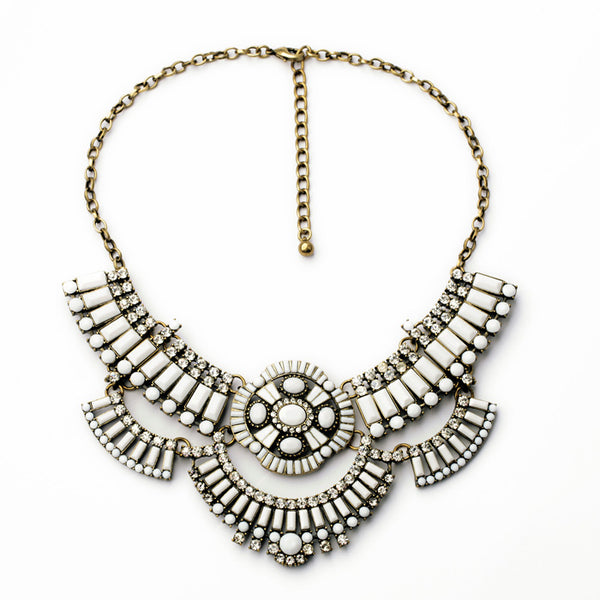 Gracy Crystal and Tile Boho Necklace - Navya