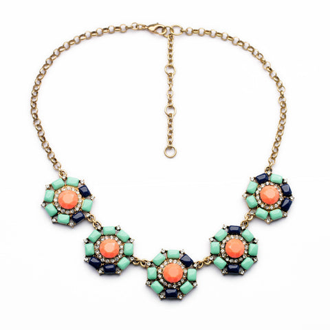 multicolor blue green Anemone Statement Necklace full view