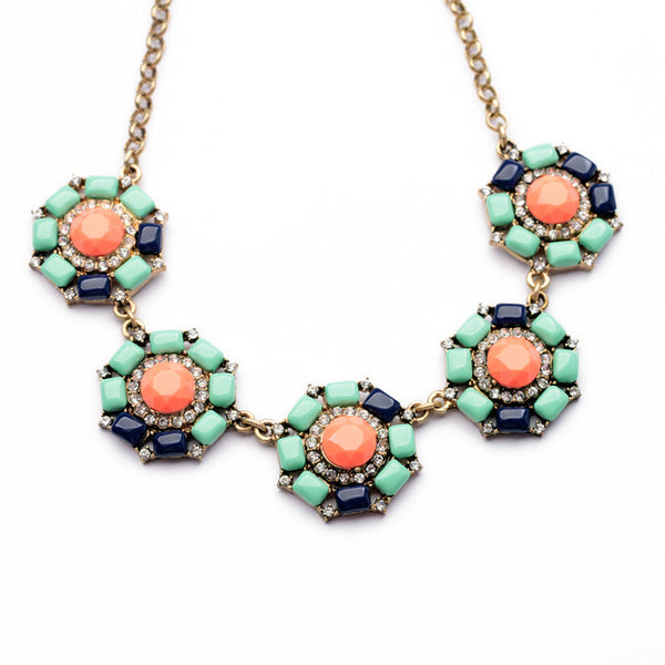 multicolor Anemone Statement Necklace half view