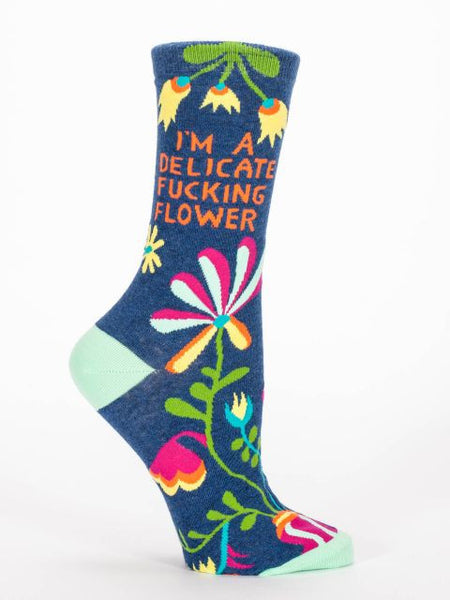 Women's Crew socks - I Am Delicate F****** Flower - BlueQ - Navya