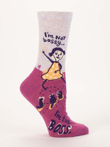 Women's Crew Socks - I am not Bossy  - Blue Q - Navya