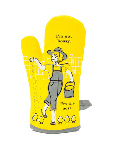 I am Not Bossy I am the Boss Oven Mitt Blue Q Front