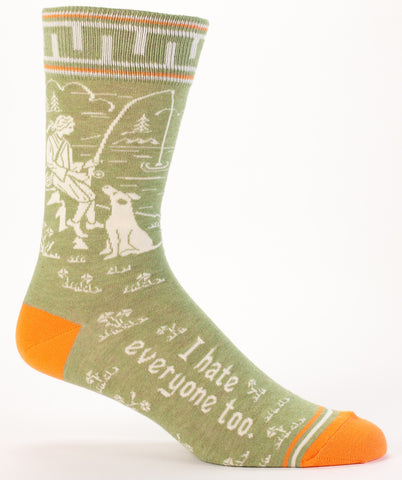 Men's Crew Socks - I Hate Everyone Too - Blue Q - Navya
